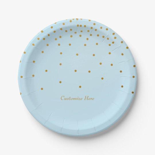 Light Blue & Gold Foil Confetti Dots Party