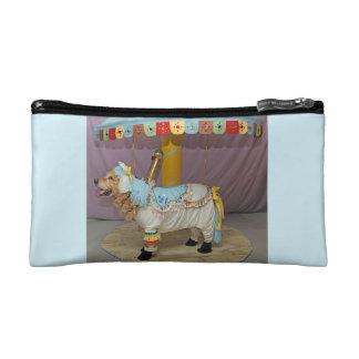 Light Blue Golden Retriever Carousel Horse Cosmetic Bag