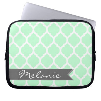 Light Blue Gray Moroccan Lattice & Banner Laptop Sleeve