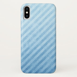 Light Blue Grunge Stripes iPhone X Case