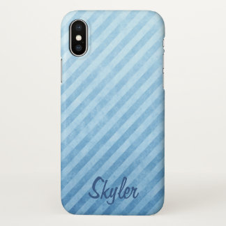 Light Blue Grunge Stripes Name Template iPhone X Case