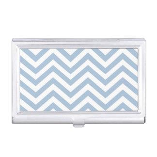 Light Blue Grunge Textured Chevron Business Card Holder