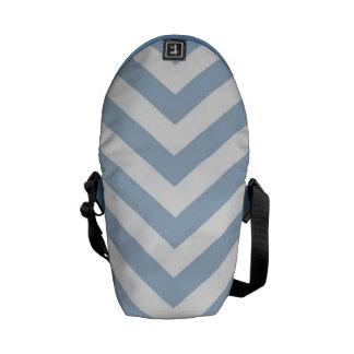 Light Blue Grunge Textured Chevron Commuter Bags