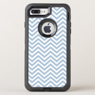 Light Blue Grunge Textured Chevron OtterBox Defender iPhone 8 Plus/7 Plus Case