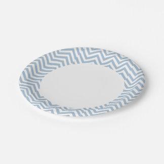 Light Blue Grunge Textured Chevron Paper Plate