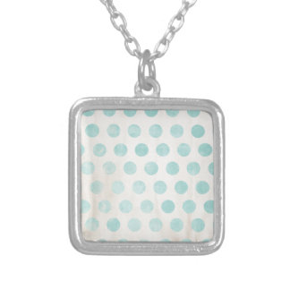 light blue grungy polka dots necklaces