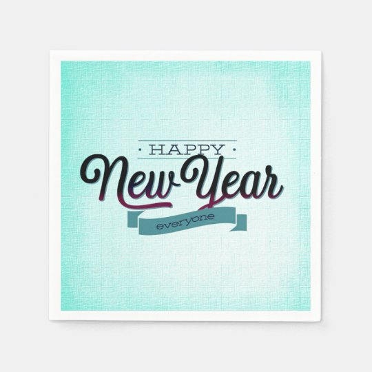 Light Blue Happy New Year Everyone Disposable Napkin