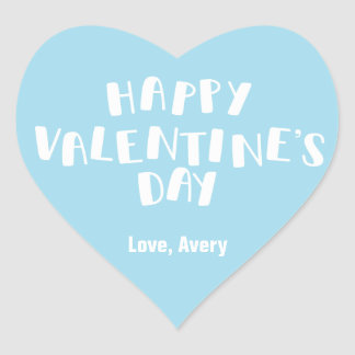 Light Blue Happy Valentine's Day Heart Sticker
