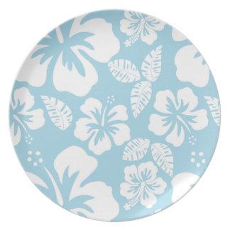 Light Blue Hawaiian Tropical Hibiscus Plate