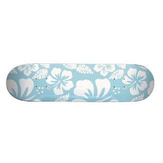 Light Blue Hawaiian Tropical Hibiscus Skateboard