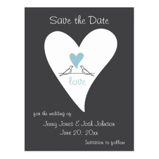 Light Blue Heart Cute White Doves Save the Date Postcard