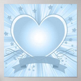 Light Blue Heart Design Poster