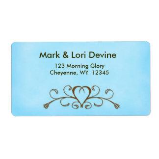 Light blue heart newlywed designer labels