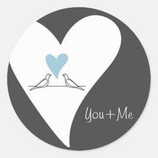 Light Blue Heart White Doves in Love Rustic Modern Round Sticker