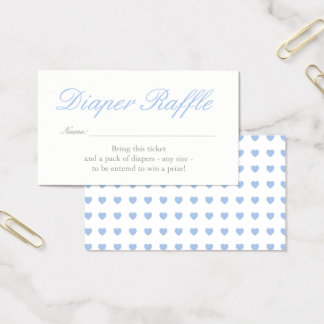 Light Blue Hearts Diaper Raffle Card