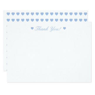 Light Blue Hearts Thank You Flat Card