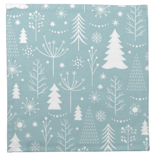 Light Blue Holiday Forest Napkin