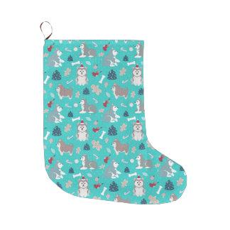 Light Blue Husky Dog Christmas Stocking