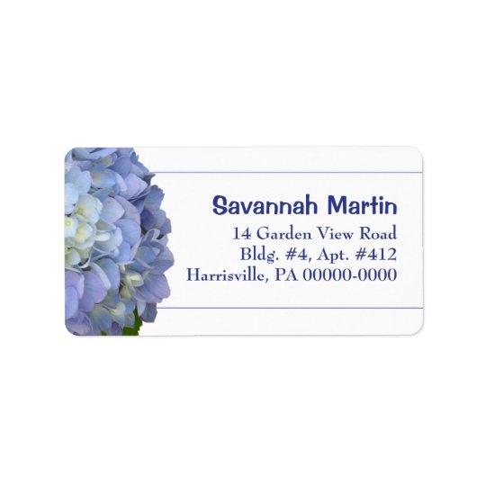 Light Blue Hydrangea Address Label Template