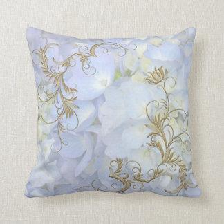 Light Blue Hydrangea Decorative Throw Pillow
