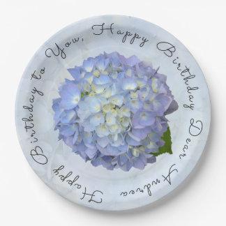Light Blue Hydrangea Special Birthday Paper Plates