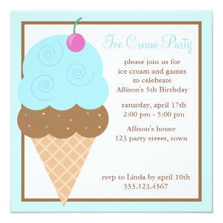 Light Blue Ice Cream Cone Card