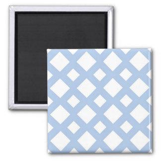 Light Blue Lattice on White Square Magnet