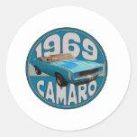 Light Blue Line 1969 Camaro Super Sport Round Sticker