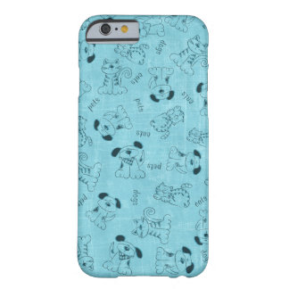 Light blue mobile phone covering with dogs and cat barely there iPhone 6 case