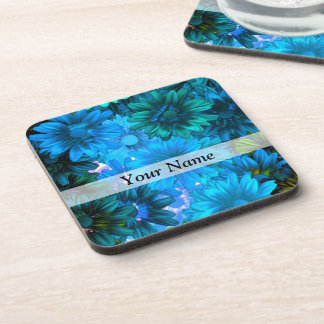 Light blue modern floral pattern coasters
