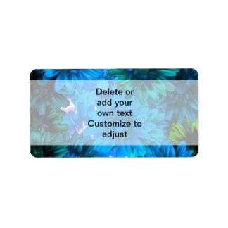 Light blue modern floral pattern address label