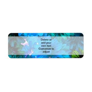 Light blue modern floral pattern return address label