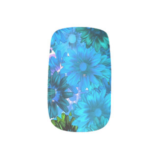 Light blue modern floral pattern nail stickers
