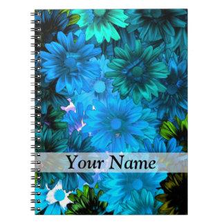 Light blue modern floral pattern spiral note book