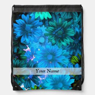 Light blue modern floral pattern cinch bag