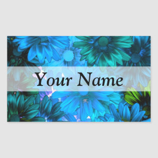 Light blue modern floral pattern rectangular sticker