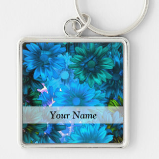 Light blue modern floral pattern Silver-Colored square key ring