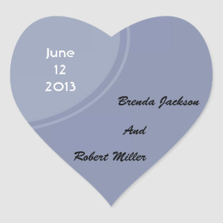Light Blue Modern Wedding Heart Sticker