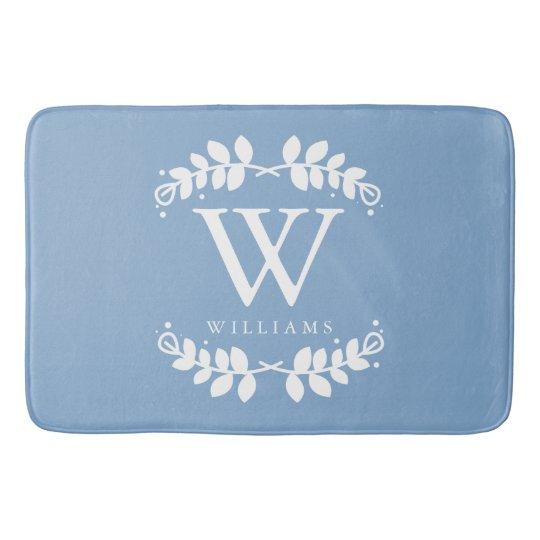 Light Blue Monogram Bath Mat