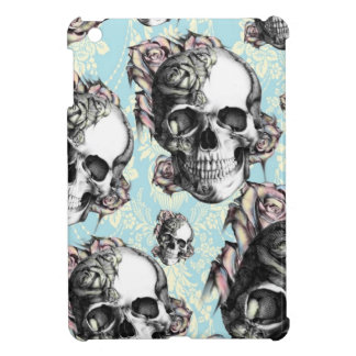 Light blue multi rose skull damask case for the iPad mini