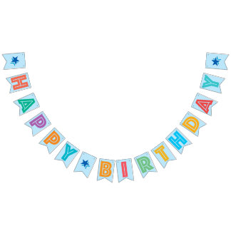 LIGHT BLUE MULTICOLORED ☆ HAPPY ☆ BIRTHDAY ☆ SIGN