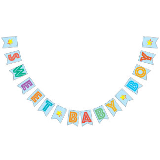 LIGHT BLUE MULTICOLORED ☆ SWEET BABY BOY ☆ SIGN BUNTING