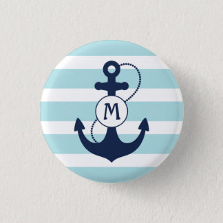 Light Blue Nautical Anchor Monogram 3 Cm Round Badge