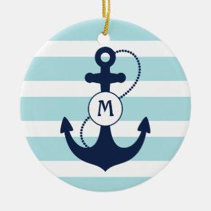 Light Blue Nautical Anchor Monogram Christmas Ornament