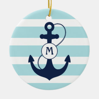 Light Blue Nautical Anchor Monogram Christmas Ornament