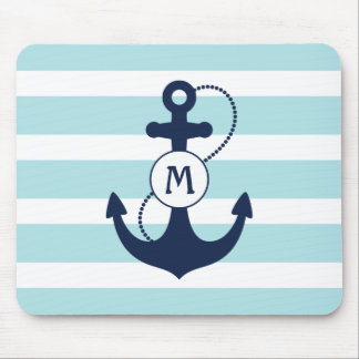 Light Blue Nautical Anchor Monogram Mouse Mat