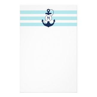 Light Blue Nautical Anchor with Monogram Stationery