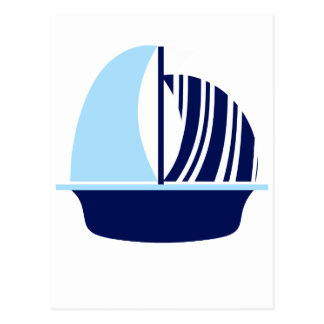 Light Blue Navy Sail Boat Postcard