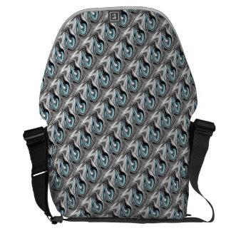 Light Blue on Silver Messenger Bag