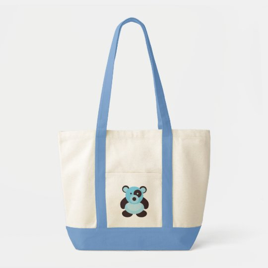 Light Blue Panda Bear Baby Tote Bag